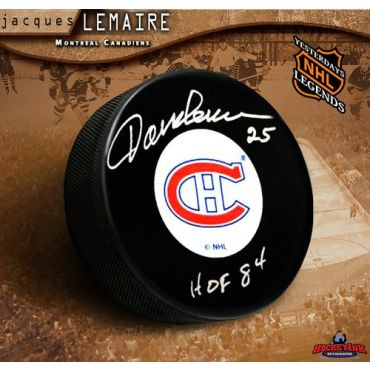 Jacques Lemaire Montreal Canadiens Autographed and Inscribed Hockey Puck