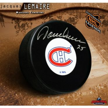 Jacques Lemaire Montreal Canadiens Autographed Hockey Puck