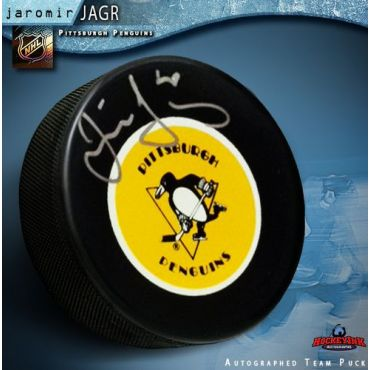 Jaromir Jagr Pittsburgh Penguins Autographed Retro Hockey Puck