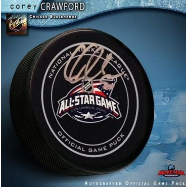Corey Crawford 2015 All-Star Game Autographed Official Game Puck