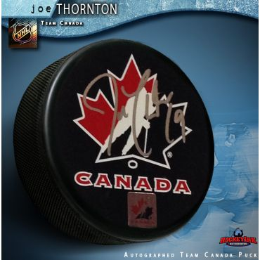 Joe Thornton Team Canada Autographed Hockey Puck