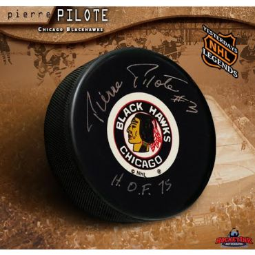 Pierre Pilote Chicago Blackhawks Autographed and Inscribed Hockey Puck
