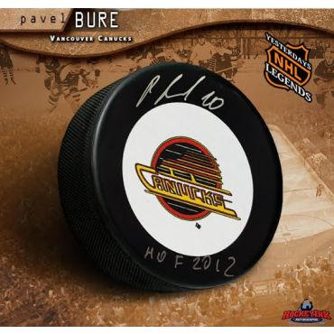 Pavel Bure Vancouver Canucks Autographed and Inscribed Hockey Puck