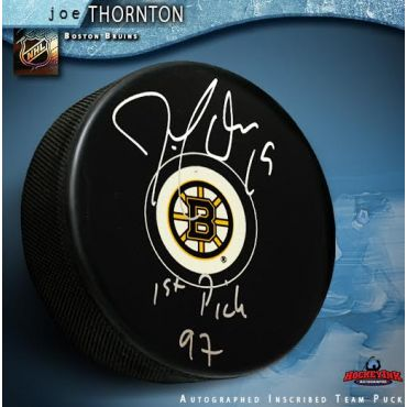 Joe Thornton Boston Bruins Autographed with 1st Pick 97 Hockey Puck