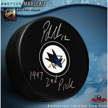 Patrick Marleau San Jose Sharks Autographed with 2nd Pick 1997 Hockey Puck