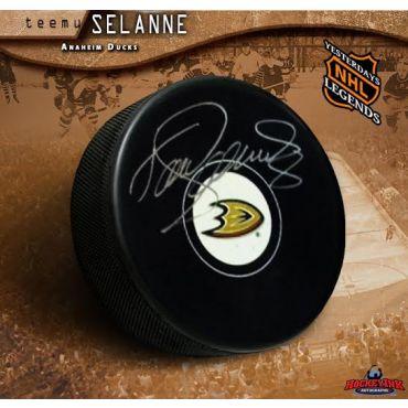 Teemu Selanne Anaheim Ducks Autographed Hockey Puck