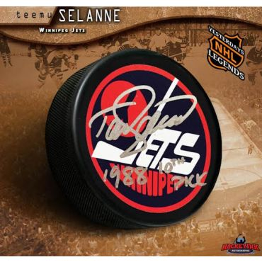 Teemu Selanne Winnipeg Jets Autographed Vintage Logo Puck with 1998 10th Pick Inscription