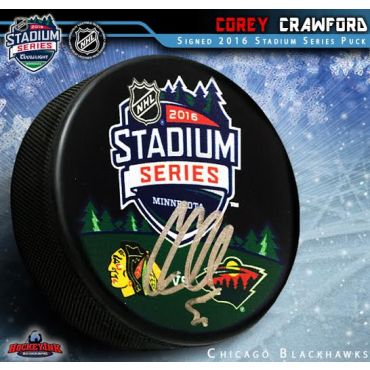 Corey Crawford Autographed 2016 NHL Stadium Series Puck