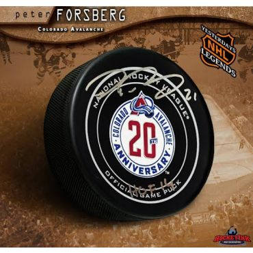 Peter Forsberg Autographed Colorado Avalanche 20th Anniversary Official Game Puck