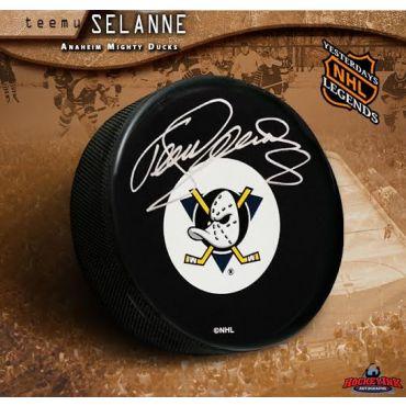 Teemu Selanne Autographed Anaheim Mighty Ducks Retro Puck