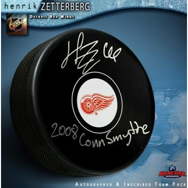 Henrik Zetterberg Autographed Detroit Red Wings Hockey Puck with 2008 Conn Smythe Inscription