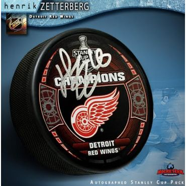 Henrik Zetterberg Autographed Detroit Red Wings 2008 Stanley Cup Champions Puck