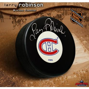 Larry Robinson Montreal Canadiens Autographed Hockey Puck