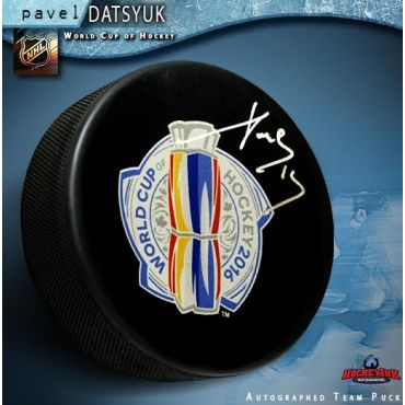 Pavel Datsyuk Autographed 2016 World Cup of Hockey Logo Puck