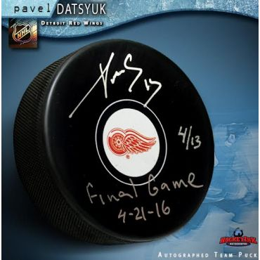 Pavel Datsyuk Autographed and Inscribed Final Game Hockey Puck