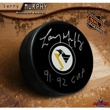 Larry Murphy Autographed Pittsburgh Penguins Hockey Puck Inscribed 91-92 Cup