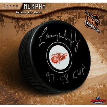 Larry Murphy Autographed Pittsburgh Penguins Hockey Puck Inscribed 97-98 Cup