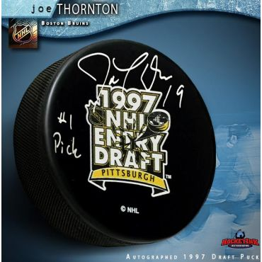 Joe Thornton Autographed 1997 NHL Entry Draft Puck Inscribe #1 Pick