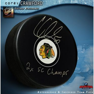 Corey Crawford Chicago Blackhawks Autographed Hockey Puck Inscribed 2X SC Champs