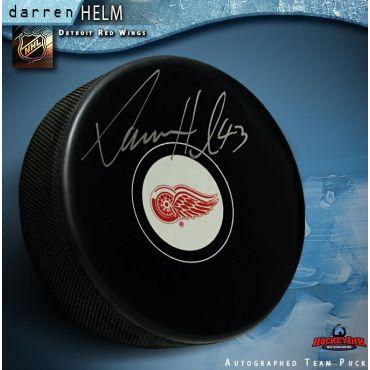 Darren Helm Autographed Detroit Red Wings Hockey Puck