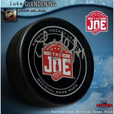 Luke Glendening Autographed Detroit Red Wings Farewell to the Joe Official Game Puck