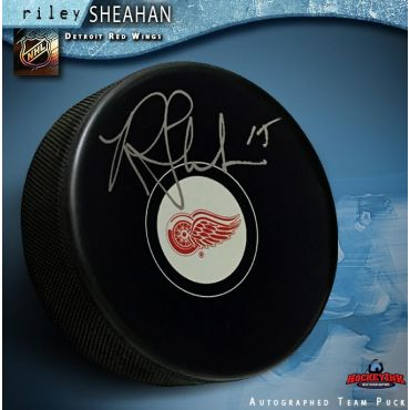 Riley Sheahan Autographed Detroit Red Wings Hockey Puck