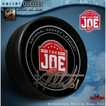 Xavier Ouellet Autographed Detroit Red Wings Farewell to the Joe Official Game Puck