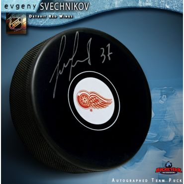 Evgeny Svechnikov Autographed Detroit Red Wings Hockey Puck