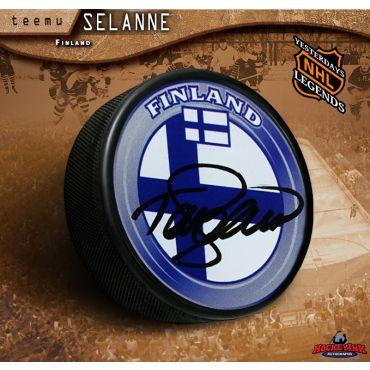 Teemu Selanne Autographed Team Finland Hockey Puck