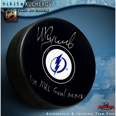 Nikita Kucherov Autographed Tampa Bay Lightning Hockey Puck 1st Goal Inscription