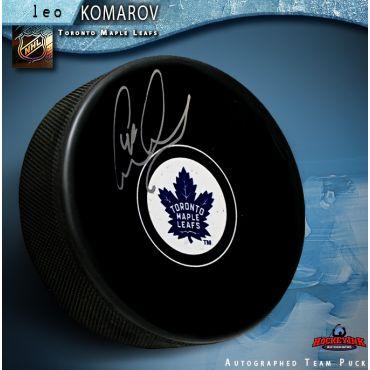 Leo Komarov Autographed Toronto Maple Leafs Hockey Puck