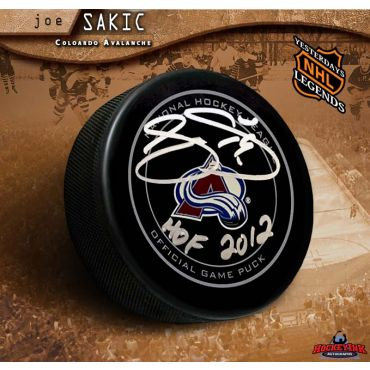 Joe Sakic Autographed Colorado Avalanche Official Game Puck with HOF 2012 Inscription