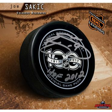 Joe Sakic Autographed NHL 100 Official Game Puck with HOF 2012 Inscription