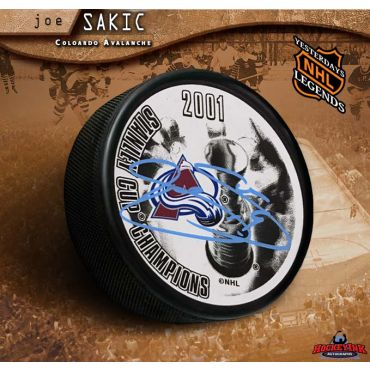 Joe Sakic Autographed 2001 Stanely Cup Champions Puck