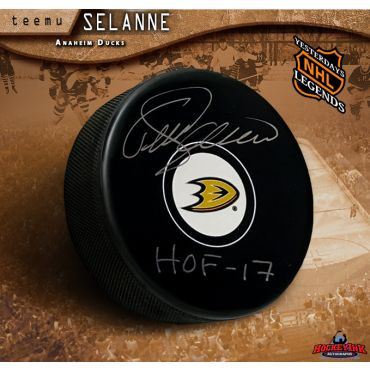 Teemu Selanne HOF Inscribed Anaheim Ducks Autographed Hockey Puck