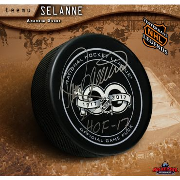 Teemu Selanne Autographed NHL 100 Official Game Hockey Puck