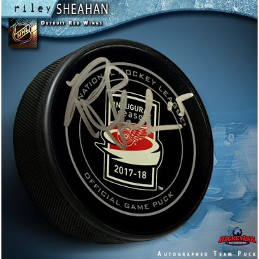Riley Sheahan Autographed Inaugural Season at Little Caesars Arena Detroit Red Wings Official Game Puck