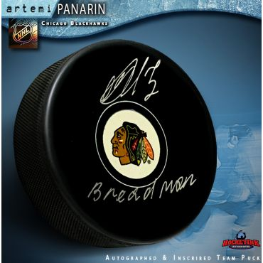 Artemi Panarin Autographed Chicago Blackhawks Puck with Breadman Inscription