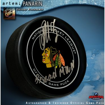 Artemi Panarin Autographed Chicago Blackhawks Official Game Puck with Breadman Inscription