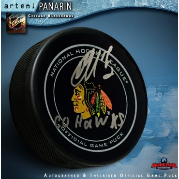 Artemi Panarin Autographed Chicago Blackhawks Official Game Puck with Go Hawks Inscripiton