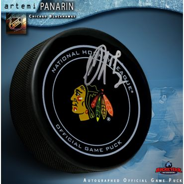 Artemi Panarin Autographed Chicago Blackhawks Official Game Puck