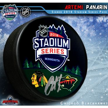 Artemi Panarin Autographed Chicago Blackhawks Stadium Series 2016 Puck
