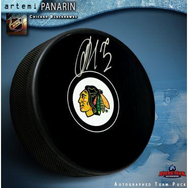 Artemi Panarin Autographed Chicago Blackhawks Puck