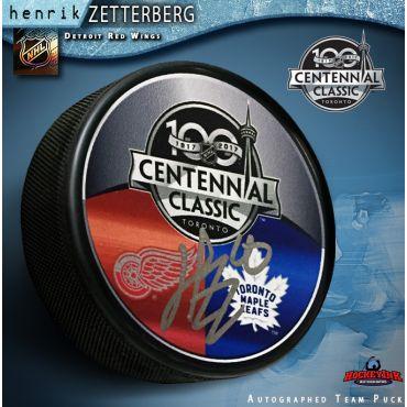 Henrik Zetterberg Autographed Hockey Detroit Red Wings Centennial Classic Puck