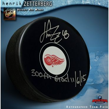 Henrik Zetterberg Autographed Hockey Detroit Red Wings Puck with 300th Goal Inscription