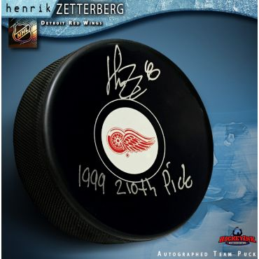 Henrik Zetterberg Autographed Hockey Detroit Red Wings Puck with Draft Pick Inscription