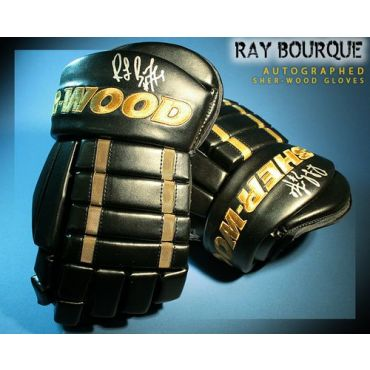 Ray Bourque Autographed Sherwood Model Gloves