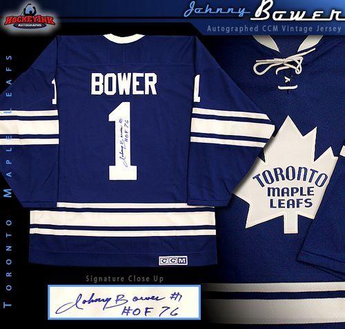 outlet store 5d531 bca00 Johnny Bower Toronto Maple Leafs Autographed Blue CCM Vintage Jersey