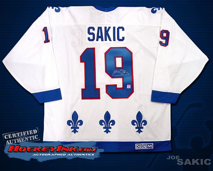 best sneakers 6d964 52e93 Joe Sakic Quebec Nordiques White Jersey