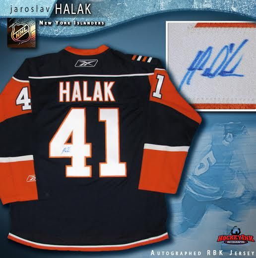 sports shoes dea25 4a242 Jaroslav Halak New York Islanders Autographed Blue Reebok Jersey
